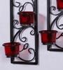 Black Metal Decorative Tea Light Holder - Set of 2 by Hosley