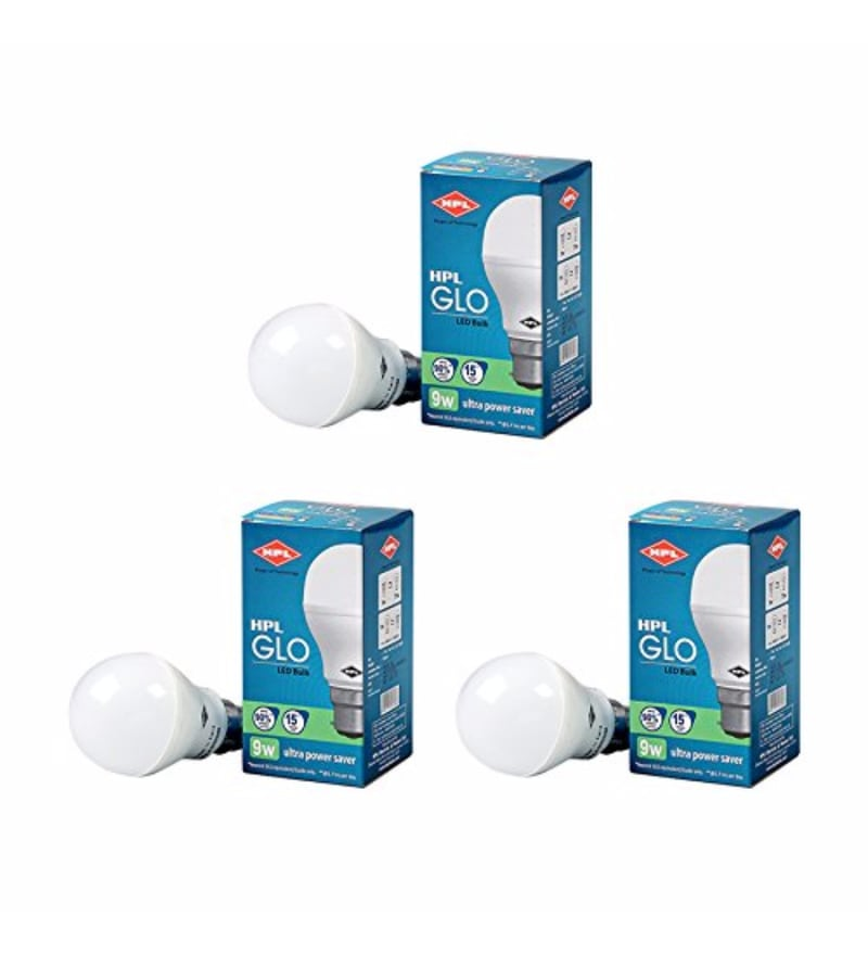 HPL Cool White 9W LED Bulbs - Set of 3
