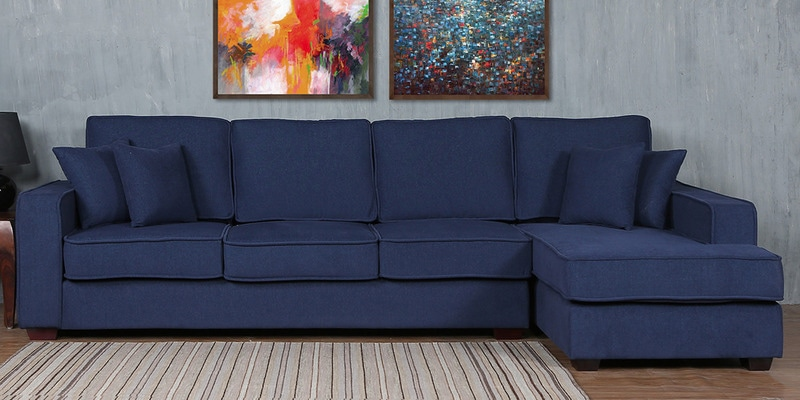 Hugo LHS Three Seater Sofa with Lounger and Cushions in Navy Blue Colour by CasaCraft