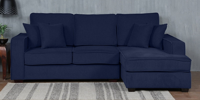 Hugo LHS Two Seater Sofa with Lounger and Cushions in Navy Blue Colour by CasaCraft