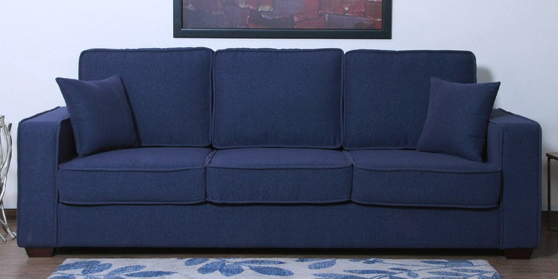 Hugo Three Seater Sofa in Navy Blue Colour by CasaCraft