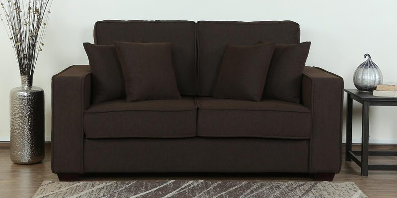 Hugo Two Seater Sofa in Chestnut Brown Colour by CasaCraft