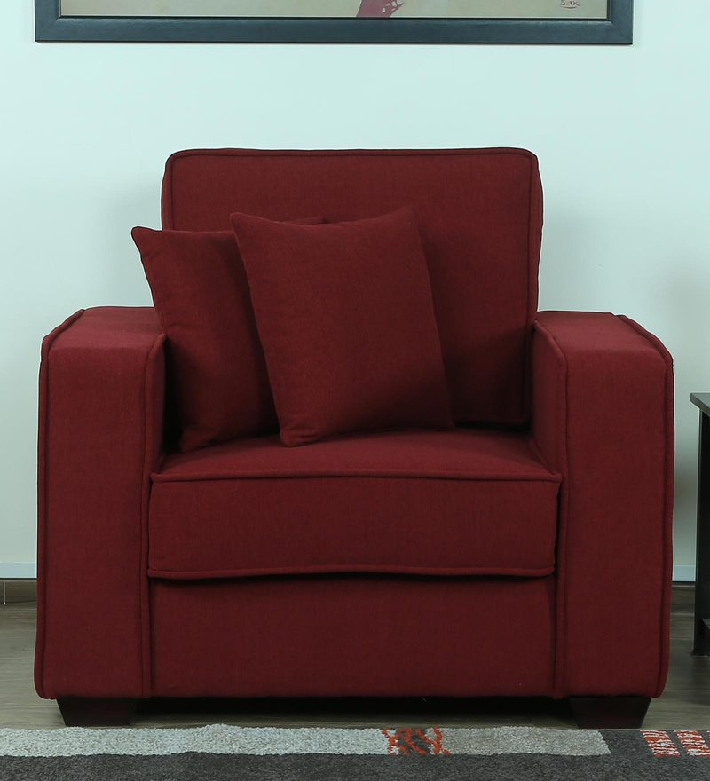 Hugo One Seater Sofa in Garnet Red Colour by CasaCraft