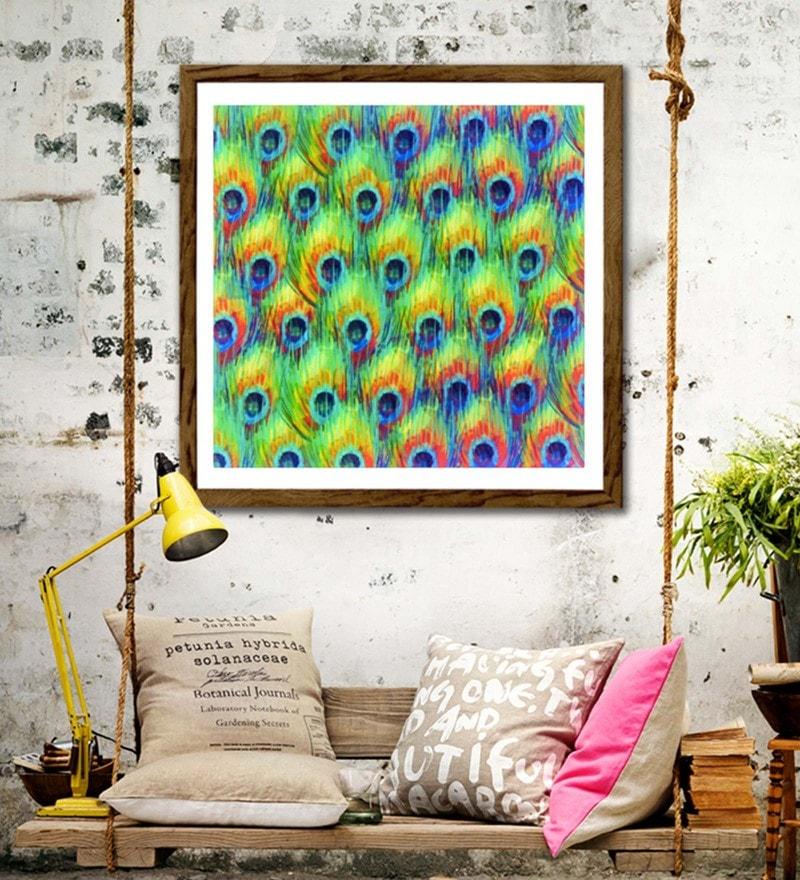 Sun Board 26 x 26 Inch The Peacock Bliss Framed Art Print by Hulkut