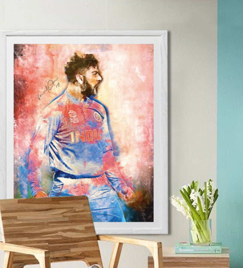 Sun Board 26 x 32 Inch Presents Virat Kohli - The Aggressor Framed Poster by Hulkut