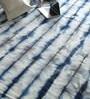 Blue Wool & Cotton Hand Woven Tie Dyed Reversible Flat Weave Carpet by Hyde Park