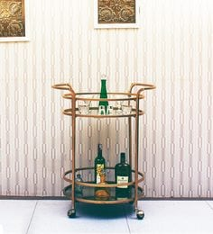 IAW Round Bar Trolley In Golden Finish By Peachtree
