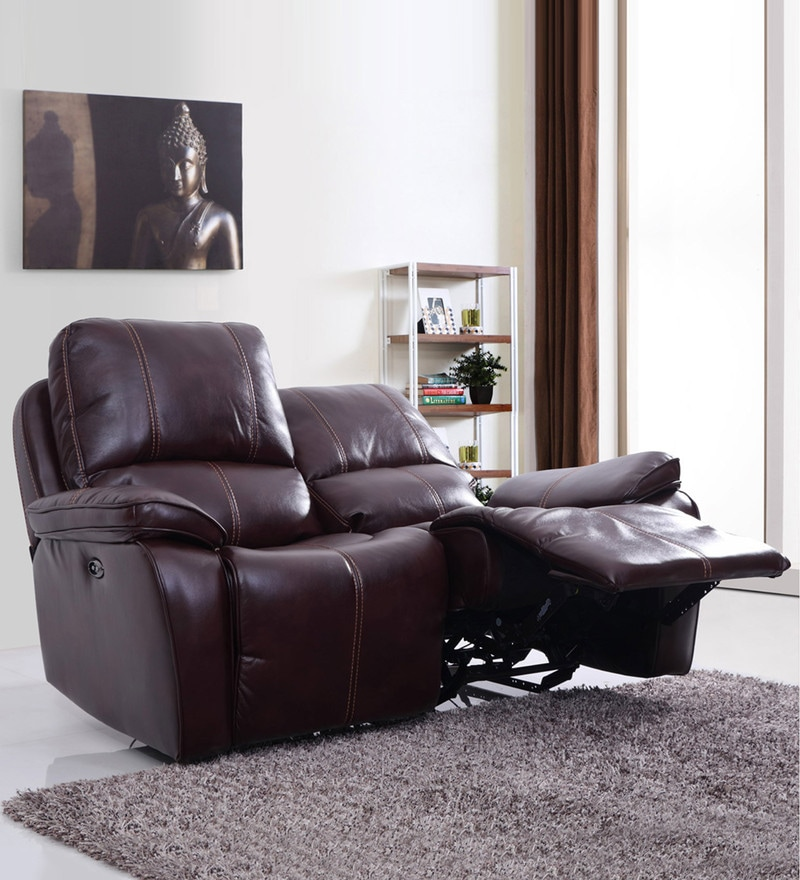 Iceland Two Seater Automatic Recliner in Red Brown Colour by Evok
