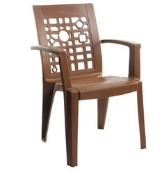 Ideal High Back Chair Set Of Two In Brown Colour