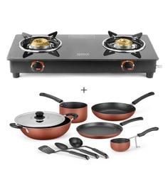 Ideale Graacio Duo Stainless Steel 2 Burner Glass Top & Non Stick Burnt Orange Cookware Set