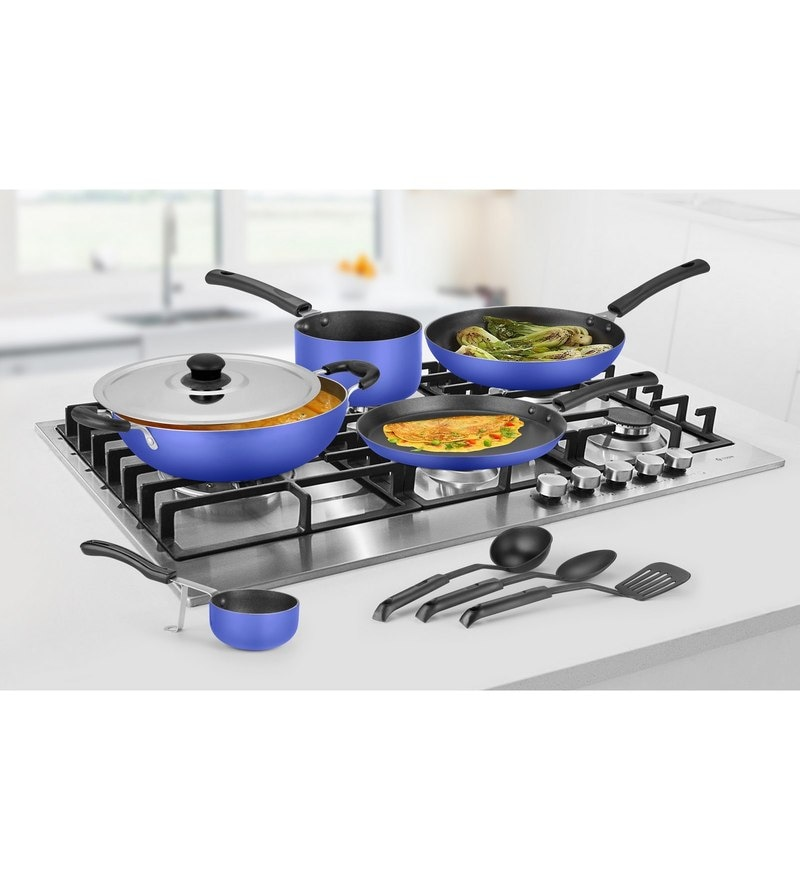 Ideale Blue Aluminium Non Stick Cookware Set of 9