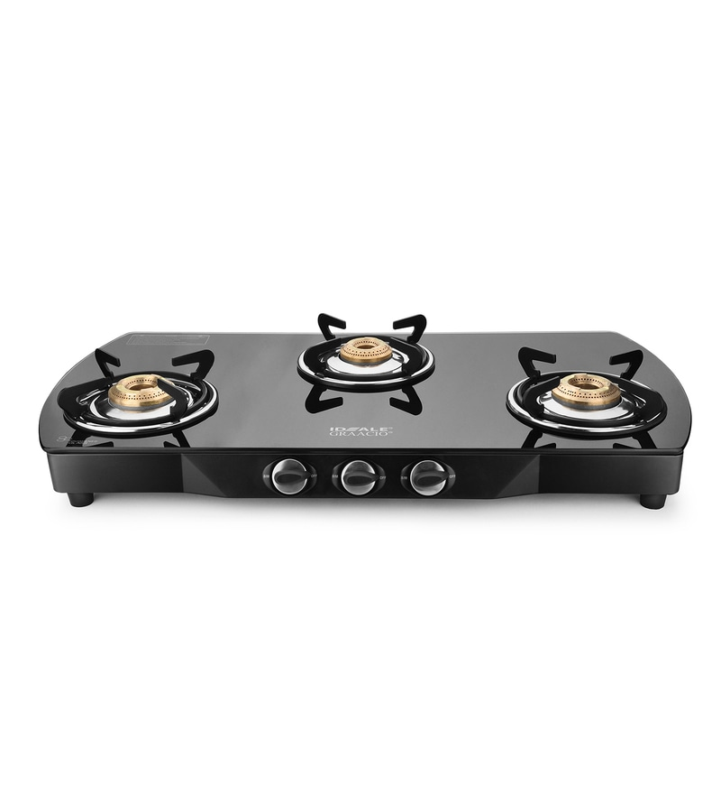Ideale Graacio Tiano Glass 3 Burner Manual Ignition Gas Stove