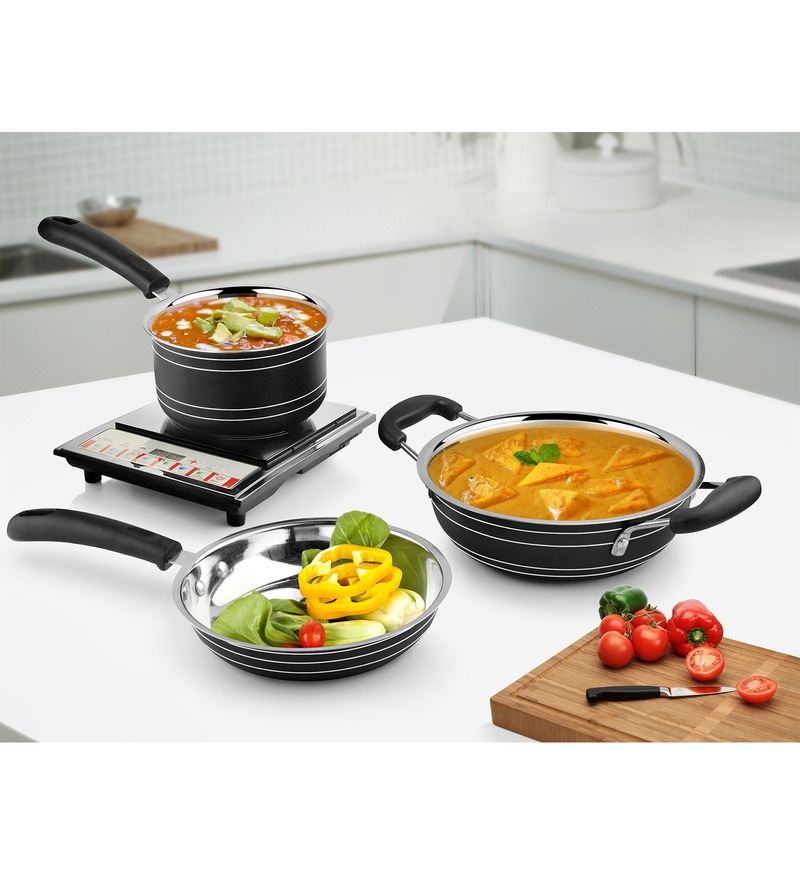 Black Stainless Steel Induction Friendly 3-Piece Cookware Set by Ideale