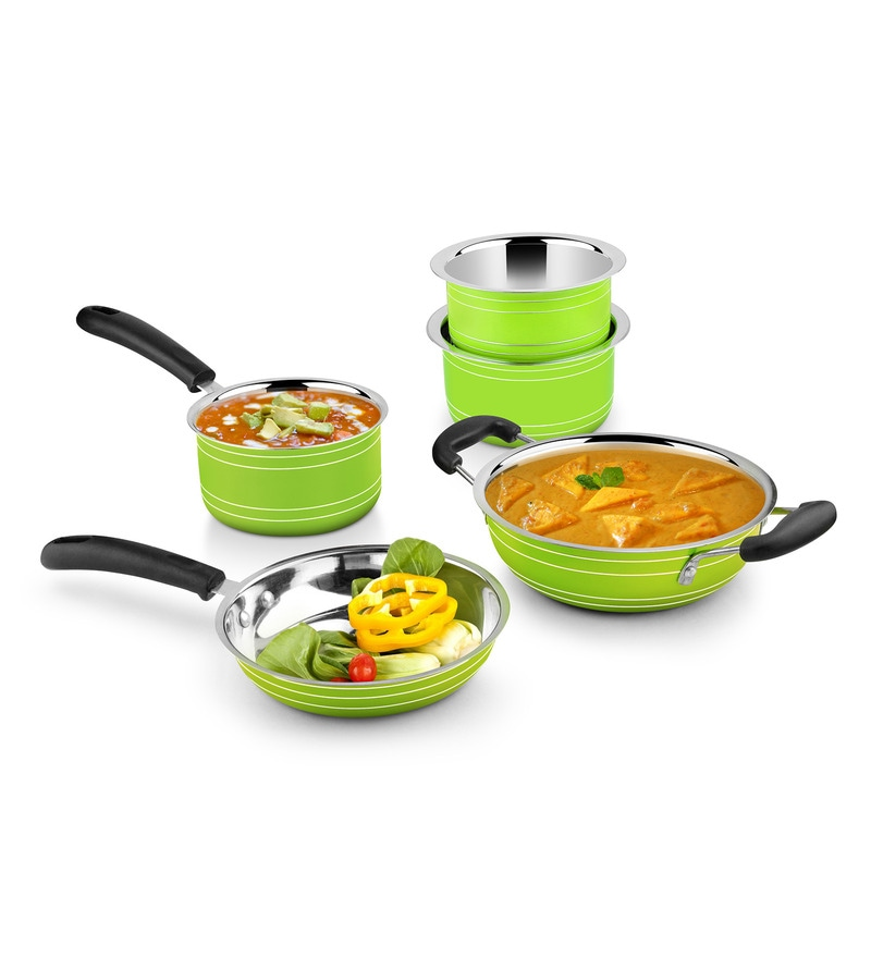Green Stainless Steel Induction Friendly 5-Piece Cookware Set by Ideale