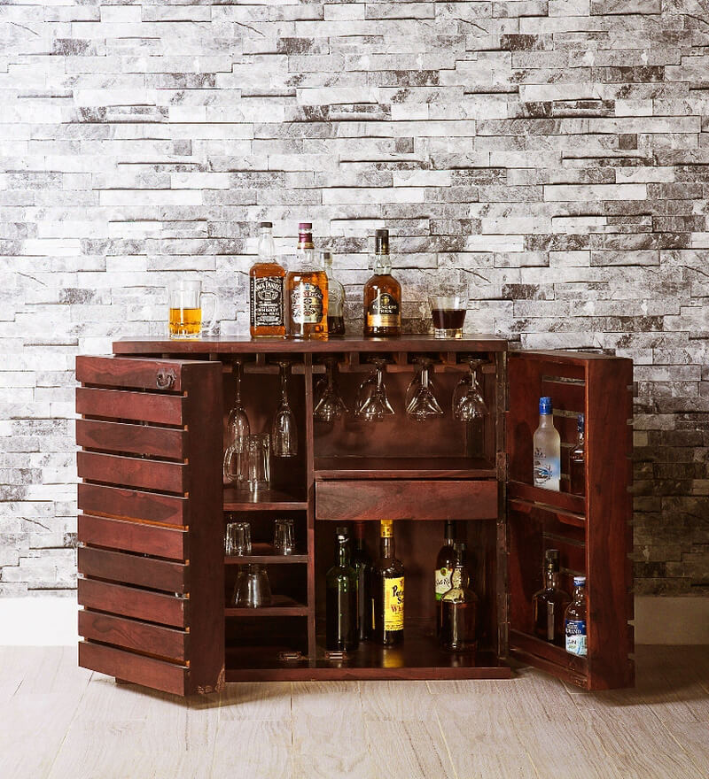 Illinois Bar Cabinet in Honey Oak Finish by Woodsworth