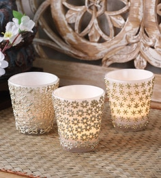 Importwala White And Golden Glass Votive Holder - Set Of 3