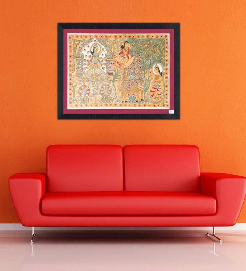 Handmade Paper 27 x 0 x 34 Inch Geeta Updesh by Lord Krishna to Arjun Framed Painting by iMithila