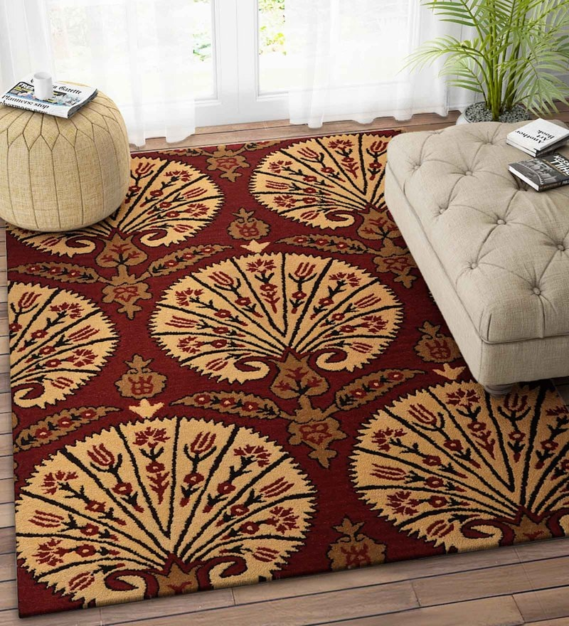 Imperial Knots Red Wool 48 x 72 Inch Floral Carpet
