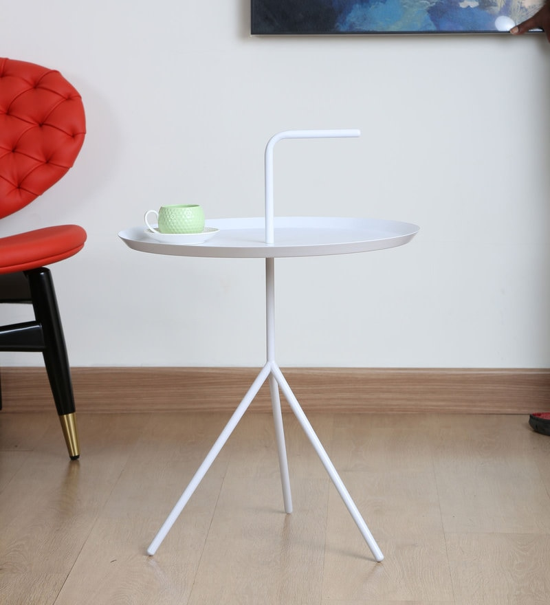 Imported Designer Handle Coffee Table In White Colour (Size L) By MISURAA