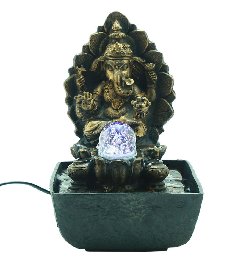 Antique Gold Polyresin Lord Ganesha Led Water Fountain by Importwala