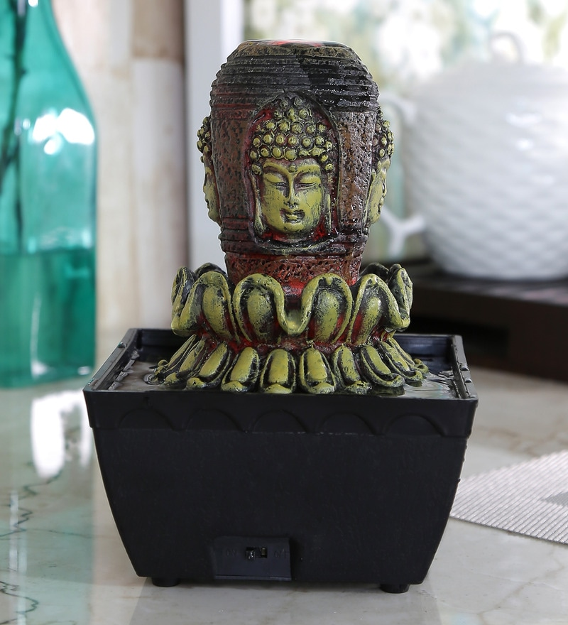 Importwala Buddha Head on Flower Multicolor Polyresin LED Fountain