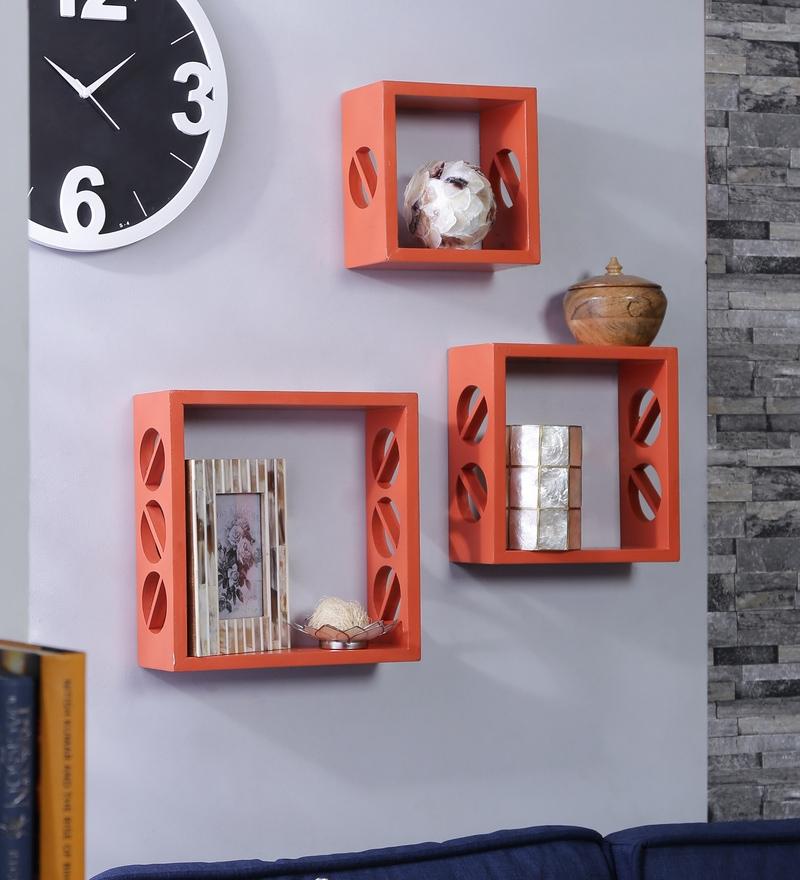 Importwala Orange MDF Floral Flame Wall Shelves - Set of 3
