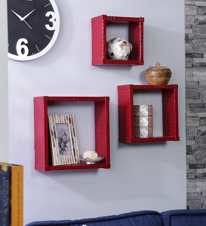 Importwala Red MDF Wall Shelf - Set of 3