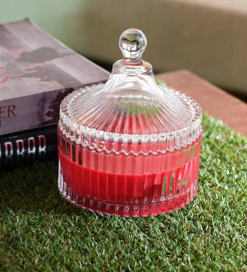 Importwala Red Strawberry Scented Candle Glass Jar