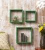 Importwala Green Cube MDF Wall Shelves - Set of 3