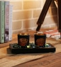 Importwala Jewel Tone Glass Votive Set with Tray - Set of 2