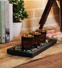 Jewel Tone Glass Votive Set with Tray - Set of 3 by Importwala