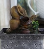 Log & Pot Brown Polyresin Water Fountain by Importwala