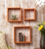 Orange Cube MDF Wall Shelves - Set of 3 by Importwala