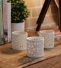 White Ceramic Lace Small Tea Light Holder - Set of 3 by Importwala
