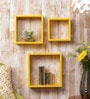 Yellow Dots MDF Wall Shelves - Set of 3 by Importwala