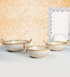 Indeasia Srijan Microwave Proof Off White Stoneware Serving Kadhai - Set Of 3