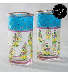 India Circus Garden Of Eva Tall Glass 400 ML Tumblers - Set Of 2