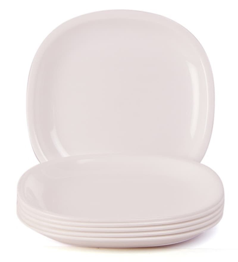 Incrizma White Plastic Square Dinner Plates   Set Of 12