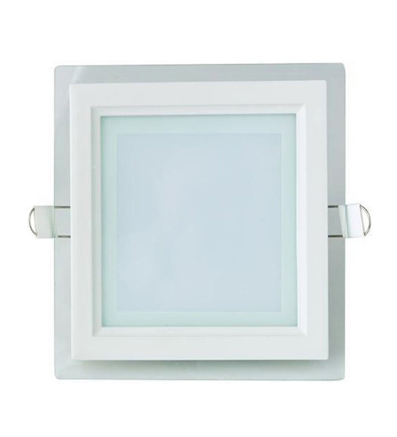 Square White 12W LED Glass Panel Light by Inddus