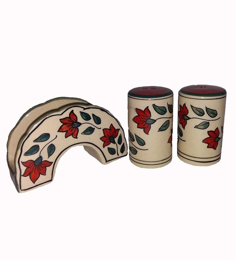 Indeasia Srijan Floral Design Multicolour Stoneware Napkin Holder with Salt & Pepper Shaker - Set of 2