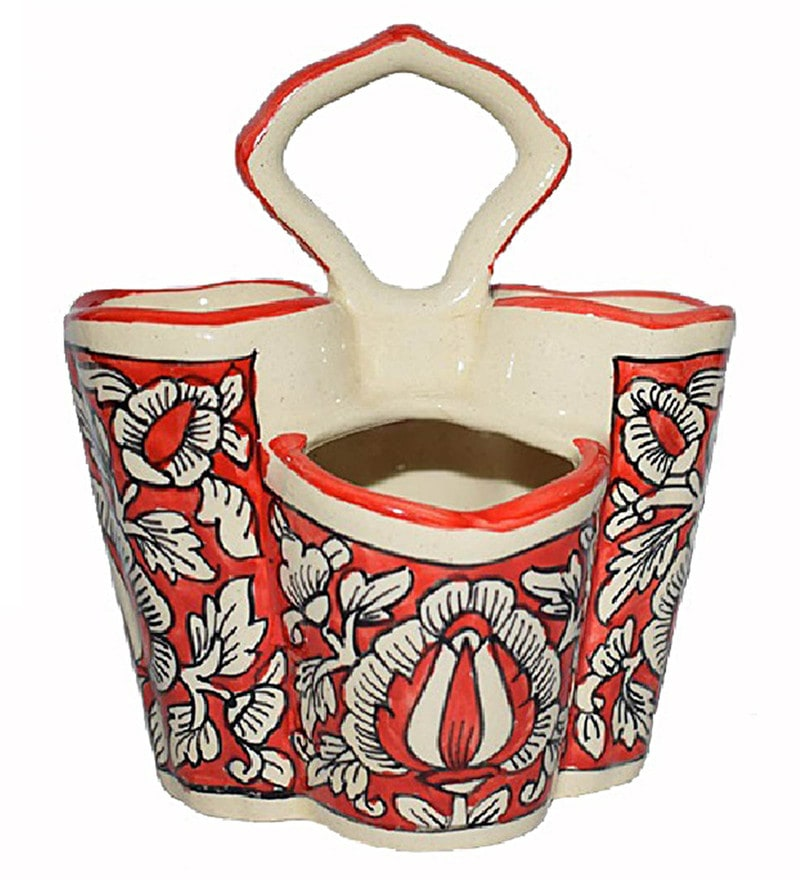 Indeasia Srijan Mughal Design Red Stoneware Spoon Stand