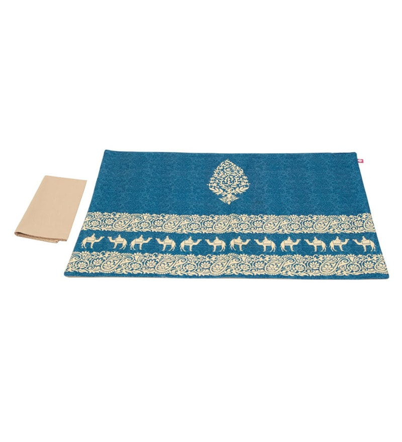 India Circus Cotton Canvas Blue Heirlooms Table Mats & Napkins
