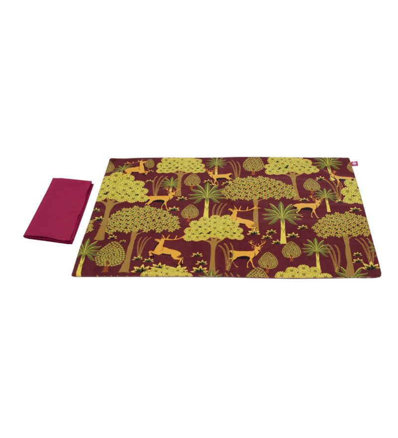 India Circus Legend of The Backwoods Multicolour Canvas Placemats with Napkins Set - Set of 6