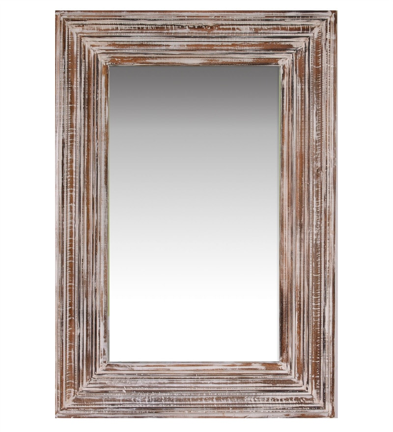 Buy Indian Crafts White MDF & Mango Wood Distress Mirror Online ...