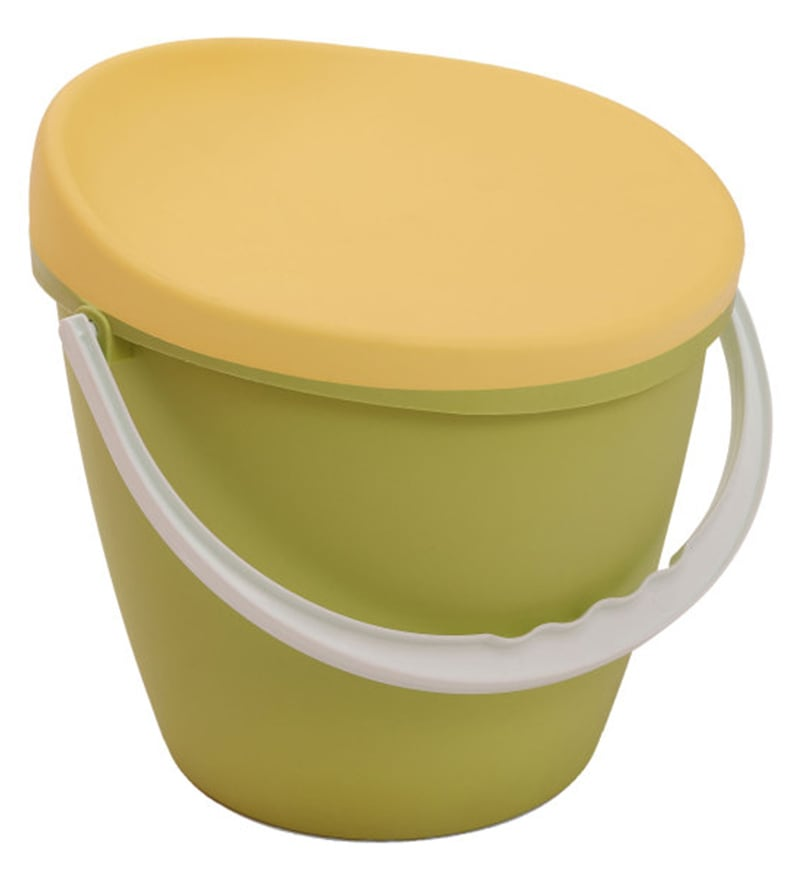 Indolax 16 L Plastic Green & Yellow Bucket Cum Storage Stool