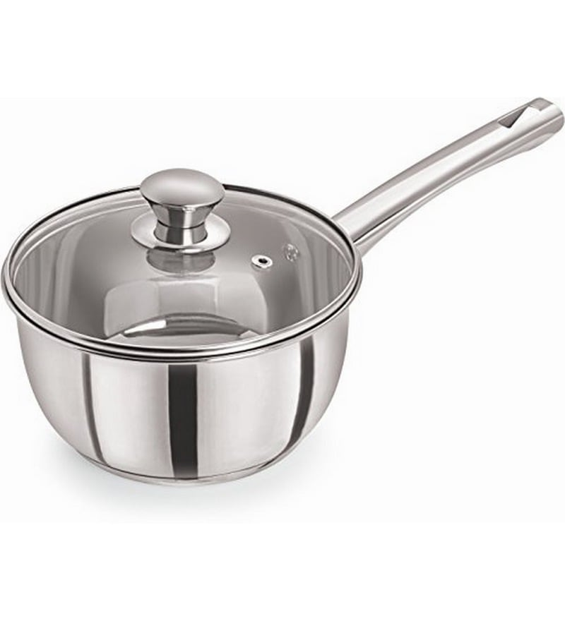 Induction Compatible Stainless Steel 1 L Sauce Pan with Glass Lid by Pristine