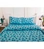 Inhouse by Maspar Circle in Circle Print Blue 1 Double Bedsheet with 2 Pillow Cover