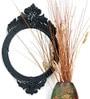 Black Glass & MDF Round Decorative Mirror by Venetian Design