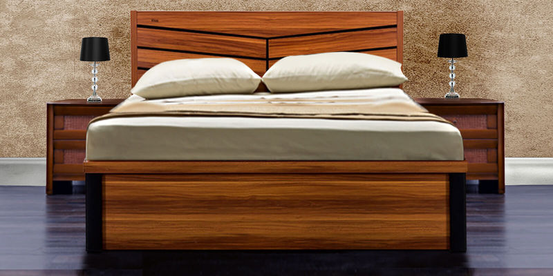 Iris Mdf King Size Bed With Hydraulic Storage In Maple Finish By Royal Oak