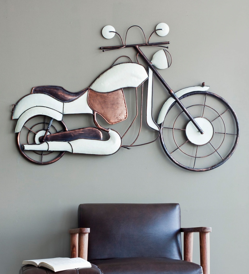 Iron 50 x 3 x 32 Inch Bike Wall Dcor White/Copper by Orange Tree
